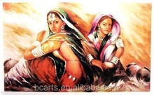 Two Sex Slim Girl Indian Oil Painting Art From Talent Artists