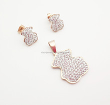rose gold stainless steel cute bear crystal jewelry set