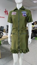Instyles Top Gun Womens 80s Costume Army Aviator Flight Dress Figher Pilot