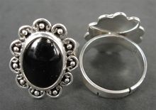 RFMN0021 - Sterling Silver Adjustable Ring with Onyx