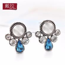 2015 Pinpai Fashion earring designs wholesale round opal crystal rhinestone stud Earrings 661