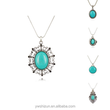 Green Pendant & Necklace Chain Vintage Jewelry Fashion For Women Turquoise Necklace