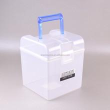Multipurpose square transparent storage plastic container box with handle