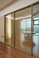 single glass door partition, room partition fabric