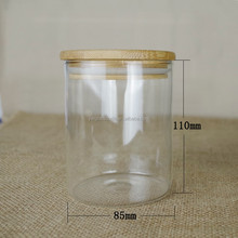 Eco-friendly glass bottles with bamboo lid for grains/food storage