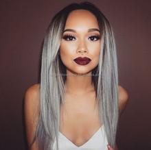 long hair straight grey hair full lace wig