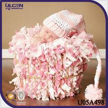 2014 gorros rosados de nuevo modelo algodón con cola largo gorros de animales para bebés