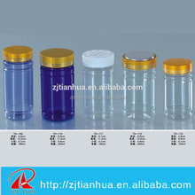 Colored New PET bottle smedicine bottle/ health care bottle with metal cap and pressure screw cup[