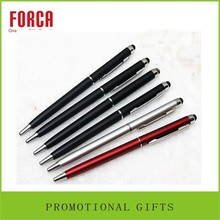Low price oem metal slim black touch ballpoint pen for gift goods