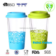 Double Wall Glass Cup With Silicon flower Cover and Lid for tea and coffee