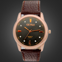 Cheap 2 Colors Brown Leather Watches for Men China Cheap Watch Shop Quartz Leather Watch