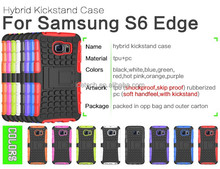 waterproof shockproof back cover armor kickstand hybrid holster case for Samsung galaxy s6 edge