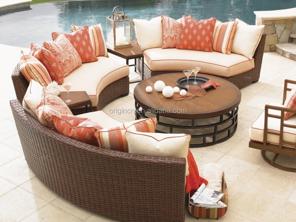 latest design luxury delicate curved wicker patio sofa set