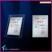 Multi-use Customised High Quality Acrylic Fridge Magnet Photo Frame Certificate Display with Advertisement Nails