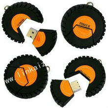 regalo promocional con forma de neumático PVC impulsión falsh usb, cubierta de memoria USB