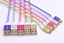 Braided gold plated Aluminium micro usb cable for samsung galaxy s6 mobile phone