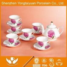 Pink flower crockery cup and tea pot creamer ceramic pot