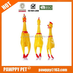 2015 new wholesale yellow latex chicken dog toy