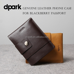 d-park High Quality Handmade Genuine Cow Leather Case for Blackberry Passport Q30 with Card Slot Mobile Phone Cases Factory