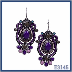 hot selling 2016 European vintage trends jewelry purple resin stone beaded earrings for women gift at cheap price