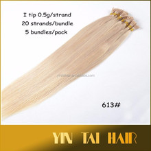 2015 wholesale remy human Keratin hair extension Fusion I tip hair/Stick Tip straight wave blonde color