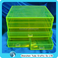 pop style acryl makeup display organizer, best selling neon green makeup organizer display drawer box