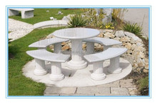 outdoor granite stone tables and benches