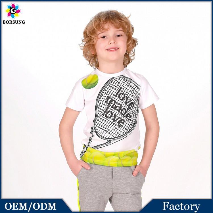 2PCS Boy Fancy Print T-shirt with Tennis Racket&Grey Half Pants,Children Frocks Designs Boys ...