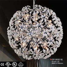 oval shape big crystal chandelier with drops of crystals trevira cs fabric hotel project