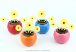 factory direct sale solar energy toys solar powered dancing sun flower, car decorative gift sun doll factory wholesale