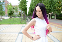 cheap good quality synthetic ombre Purple Mixed Pink cosplay color wigs 26'' kanekalon Long Straight wig with bangs for sale