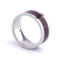 10mm Simple style Wood Grain Stainless Steel Wedding rings