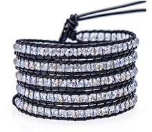 2015 New product crystal leather wrap bracelet, fashion crystal bracelet leather