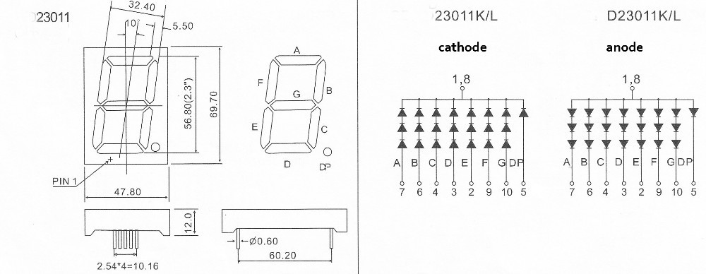 2.3 inch seven segment single digit led display module