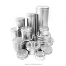 wholesale plain round aluminum candle tin box with lid