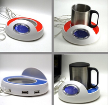 Fashion USB cup warmer with clock / Temperature display usb warmer / usb coffee cup warmer
