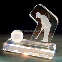 Clear Sports Crystal Golf Ball Award With Clear Base