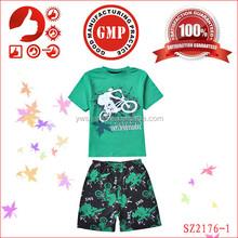 2015 short sleeve cotton pajamas set for boys,cheap kids clothing set, fashion design pajama