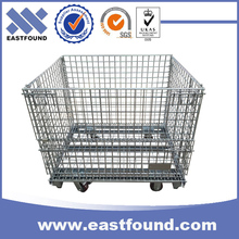 Heavy duty wire storage folding galvanized metal pallet crate with wheels