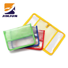 water resistant solid reinforced PVC mesh plastic with zipper closure bag