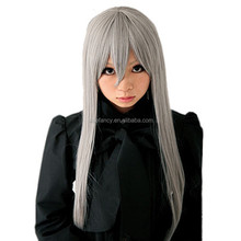 CHEAP Eco-friendly cheap lace synthetic cosplay wigs for party black wigs anime cosplay gray QPWG-1562