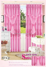 100% polyester fashin four colors joint fabric with lace curtain fabric for window ready made curtain