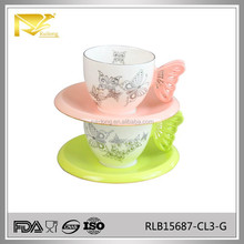 China manufacturer glazed butterfly wing ceramic tea cup, coffee cup, cup and saucer