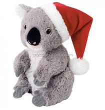 koala bear plush toys/stuffed koala toy/cheap and high quality koala toy with santa hat