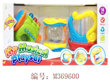 Hot selling B/O trumpet,drum and harp instrument group with flash light and music baby toys include battery,toys
