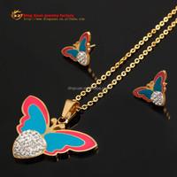 2015 Newest Angel design rani haar jewelry set stainless steel jewelry moti jewelry set