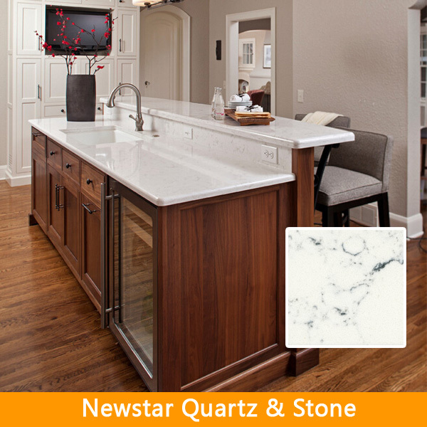 white artifiical quartz stone prefabricated kitchen island top