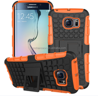 2015 hot selling PC TPU mobile phone case cover with stand Antiskid tread for Samsung S6 edge CO-MIX-9029