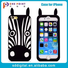 Soft 3D black animal zebra silicone phone case for iphone