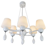 E27 Vintage countryside floral pattern Chandelier pendant glass lamp with 6 lights hot sale